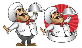 Cartoon of chef presenting the dish Royalty Free Stock Photography