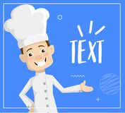 Cartoon Chef presenting text Flat Vector Illustration Design. Chef high quality flat Vector Illustration design concept for web, print and other projects vector illustration