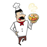 Cartoon Chef with Ramen Bowl Royalty Free Stock Photography