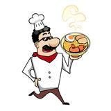 Cartoon Chef with Ramen Bowl Stock Images