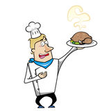 Cartoon chef with roast turkey Stock Image