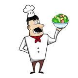 Cartoon Chef with Salad Bowl Stock Photography