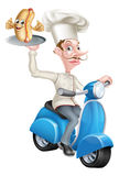 Cartoon Chef on Scooter Moped Delivering Hotdog Stock Photography