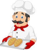 Cartoon Chef Serving bread Stock Images