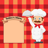 Cartoon Chef Serving Food In A Sliver Platter Royalty Free Stock Images