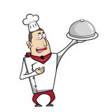 Cartoon chef with serving tray. Vector illustration Royalty Free Stock Image
