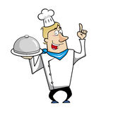 Cartoon chef with serving tray Royalty Free Stock Images