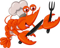 Cartoon Chef shrimp with fork and knife Stock Photography