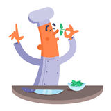 Cartoon chef smelling the fresh herbs. Eyes are closed Royalty Free Stock Photos