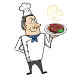 Cartoon Chef with Steak Dinner Royalty Free Stock Photos