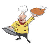 cartoon chef with tray of  food in hand Stock Photo