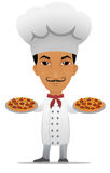 Cartoon chef with two pizzas Royalty Free Stock Photo