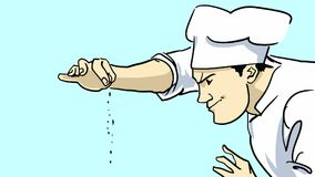 Cartoon Chef in a uniform and a cook`s cap flavoring the dish with spices Royalty Free Stock Images