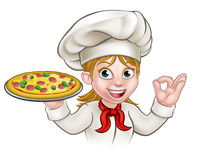Cartoon Chef Woman and Pizza. A woman chef cartoon character holding pizza vector illustration