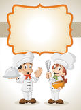 Cartoon chefs cooking Stock Images