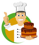 Cartoon chefs cooking, holding tray with cake Royalty Free Stock Photos
