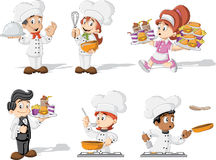 Cartoon chefs cooking, waitress and waiter Royalty Free Stock Photo