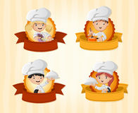 Cartoon chefs holding tray with food. Stock Photo