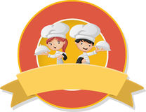 Cartoon chefs holding tray with food. Stock Image