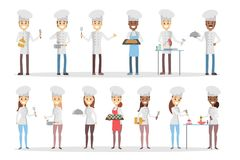 Cartoon chefs set. Cartoon chefs set cooking and preparing food Royalty Free Stock Photos