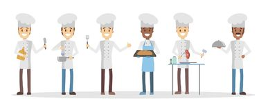 Cartoon chefs set. Cartoon chefs set cooking and preparing food Stock Photos