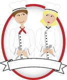 Cartoon Chefs Smiling At Each Other In Oval Banner Royalty Free Stock Photos