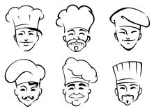 Cartoon chefs in toques Stock Photography