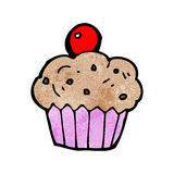 Cartoon cherry cupcake Stock Photo
