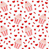 Cartoon cherry cupcake seamless pattern Stock Image