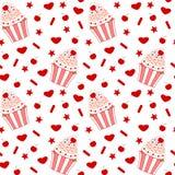 Cartoon cherry cupcake seamless pattern Stock Image