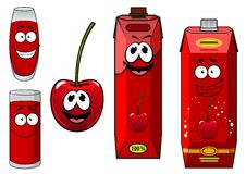 Cartoon cherry fruit with juice characters Royalty Free Stock Photos