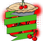 Cartoon cherry pie label with blank ribbon Stock Image