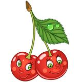 Cartoon cherry twins character. Happy fruit symbol. Food icon. Design element for children`s coloring book, kids t-shirt print, labels, patches or stickers vector illustration