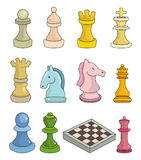 Cartoon chess isolated. Illustration Stock Images