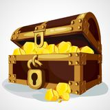 Cartoon chest full of gold vector illustration