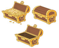 Cartoon chests of gold coins Royalty Free Stock Photo