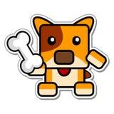 Cartoon Chibi Dog Holding Bone. Vector Illustration of Cartoon Chibi Dog Holding Bone Stock Photos