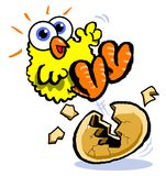 Cartoon chick hatching Royalty Free Stock Photo