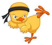 Cartoon chick karate kick Stock Photo