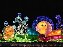Cartoon chick toys light. Colorful carton chicken egg toy light Stock Image