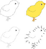 Cartoon chick. Vector illustration. Dot to dot game for kids Stock Image