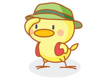 Cartoon chick wearing a hat Stock Image
