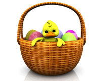 Cartoon chicken in a basket with eggs Royalty Free Stock Photography