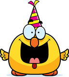 Cartoon Chicken Birthday Party. A cartoon illustration of a chicken with a party hat looking happy Royalty Free Stock Images