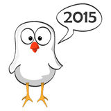 Cartoon chicken blue wave 2014. White happy little bird with speech bubble for happy new year 2015. Vector illustration Royalty Free Stock Photos