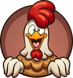 Cartoon chicken coming put of round hole. Cartoon chicken peeking out of a round hole. Vector clip art illustration with simple gradients. All in a single layer royalty free illustration