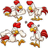 Cartoon chicken. With different poses. Vector clip art illustration with simple gradients. Each on a separate layer Stock Photography