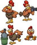 Cartoon chicken in different poses. Vector clip art illustration with simple gradients. Some elements on separate layers royalty free illustration