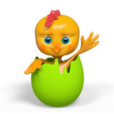Cartoon chicken in egg isolated, 3d rendering. Funny cartoon chicken in egg isolated, 3d rendering Stock Images