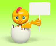 Cartoon chicken in egg with poster , 3d rendering. Funny cartoon chicken in egg with poster , 3d rendering Royalty Free Stock Images